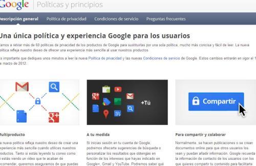 Pantallazo con el nuevo mensaje de Google