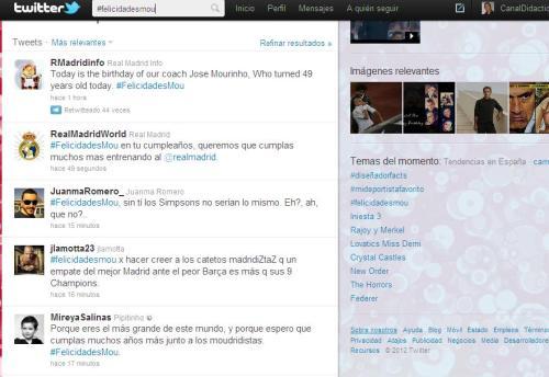 Twitter del Real Madrid y de aficionados blancos y culés anunciando el cumple de Mou