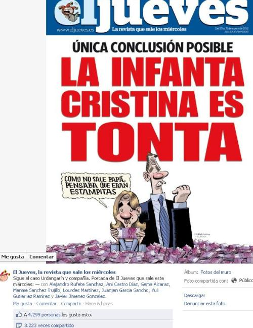 Portada de El Jueves en la semana del juicio a Urdangarín. Imagen estrella en Facebook