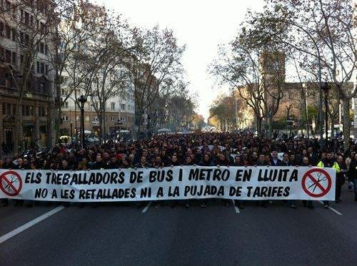 Manifestación de trabajadores de TMB del 8 de febrero de 2012(foto cortesía de EP)