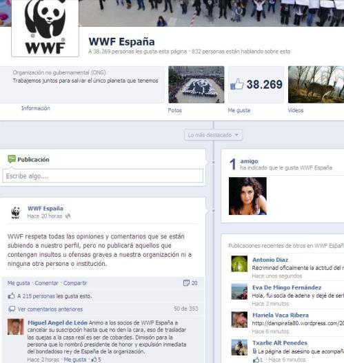 Los socios y usuarios de Facebook de WWF piden el cese del rey como presidente de Honor